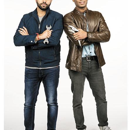 Rishabh Karwa ( in leather jacket ) and Nitin Rana, Co-Founders, GoMechanic